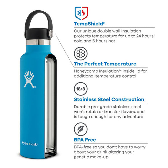 Hydro Flask Standard Mouth 24 oz Insulated Water Bottle Jade