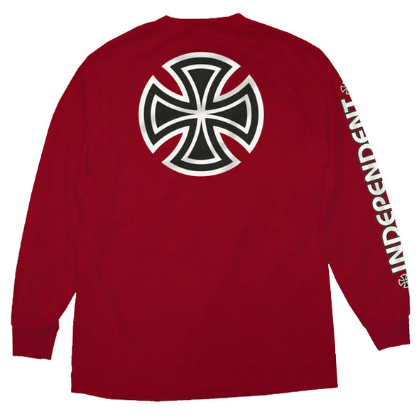 Independent Bar/Cross Regular L/S T-Shirt Cardinal
