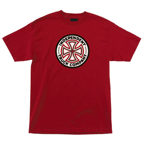 Independent Red/White Cross Regular S/S T-Shirt Cardinal