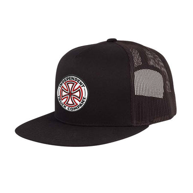 Independent Red/White Cross Mesh Trucker Black