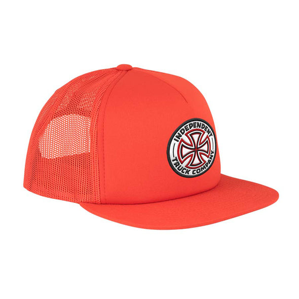 Independent Red/White Cross Mesh Trucker Red