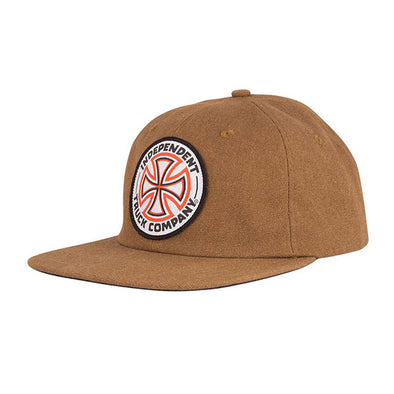 Independent Red White Cross Snapback Brown