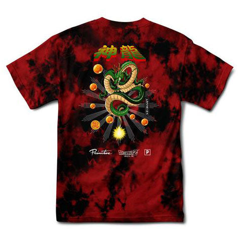 Primitive DBZ Shenron Wish Washed Tee Red/Black Wash