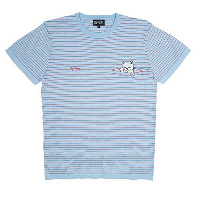 RIPNDIP Peek A Nermal Knit Tee Baby Blue/Red