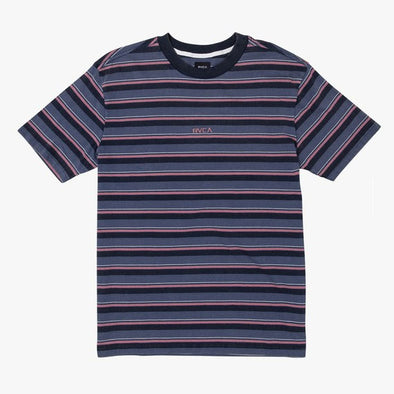 RVCA Curtis Striped Knit T-Shirt China Blue