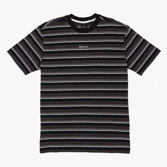 RVCA Curtis Striped Knit T-Shirt Pirate Black