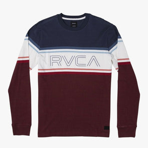 RVCA VHS LS Knit T-Shirt Navy/Red