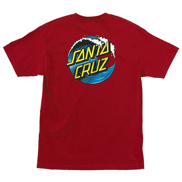 Santa Cruz Wave Dot Regular S/S T-Shirt Cardinal/Blue/Yellow