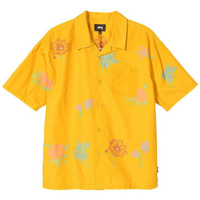 Stussy Hand Drawn Flower Shirt Mustard