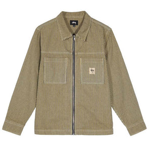 Stussy Overdyed Hickory LS Zip Shirt Yellow