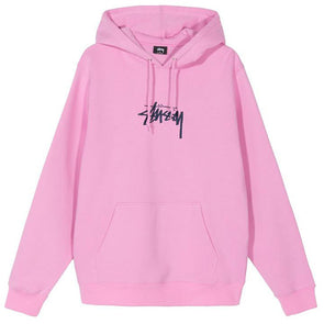 Stussy Stock Logo Applique Hoodie Pink