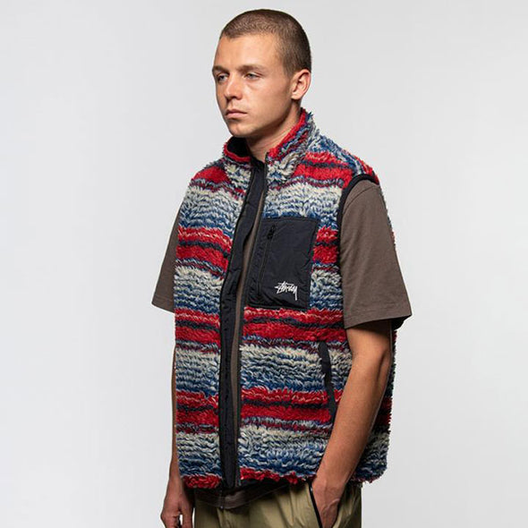 Stussy Striped Sherpa Vest Multi