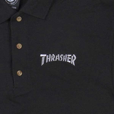 Thrasher Embroidered Logo Polo Shirt Black - Xtreme Boardshop