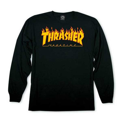 Thrasher Flame Logo Long Sleeve Black - Xtreme Boardshop
