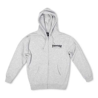 Thrasher Magazine Logo Zip Hood Heather Grey - Xtreme Boardshop