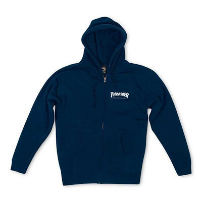 Thrasher Magazine Logo Zip Hood Navy - Xtreme Boardshop