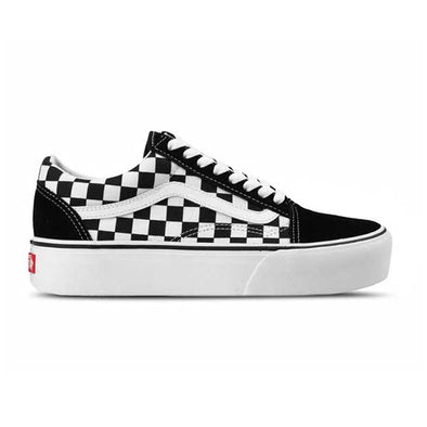 Vans Women's Old Skool Platform Checkerboard BlackTrue White