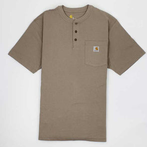 Carhartt Workwear Pocket Henley Short Sleeve Heather Desert - Xtreme Boardshop