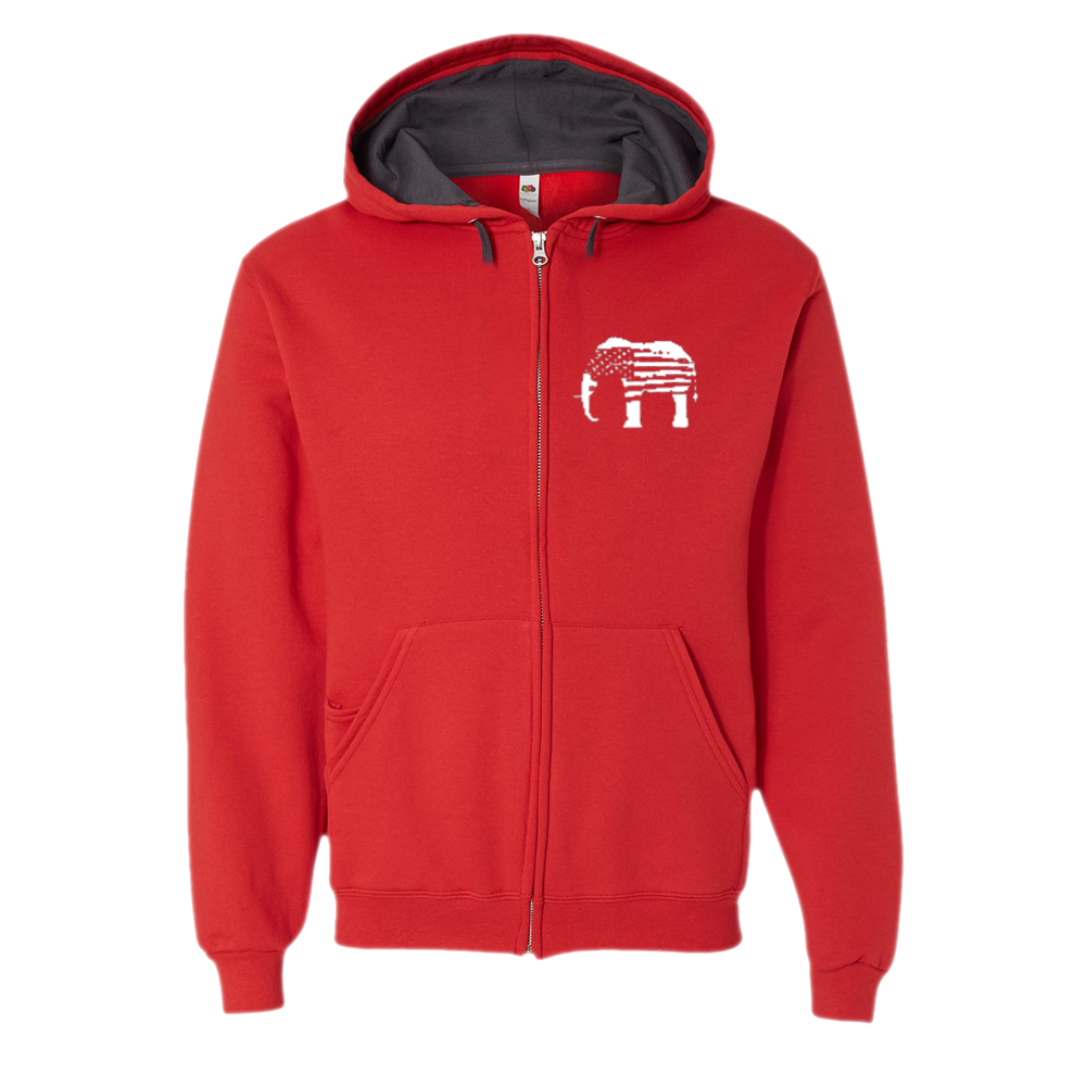 Red Elephants Zip Hoodie