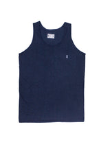 Navy surf tank top with palm to pine logo