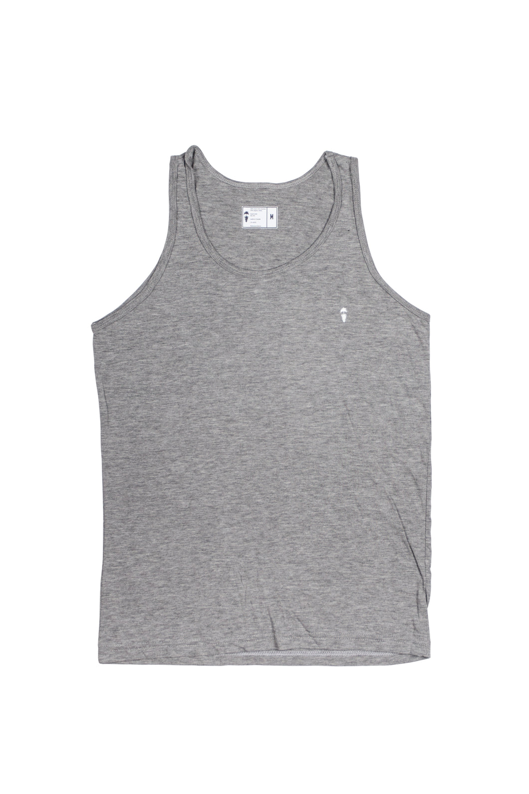 Grey surf tank top with palm to pine logo