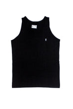 Black surf tank top with palm to pine logo