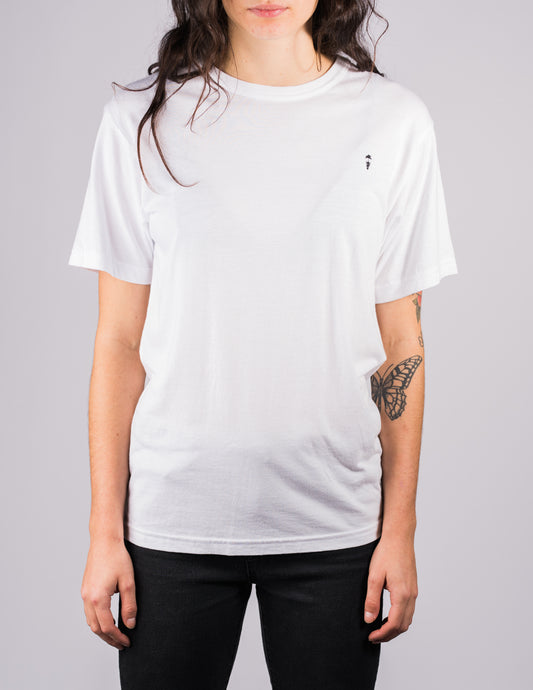 white surf t-shirt on female model