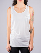 white surf tank top with palm to pine logo on female model