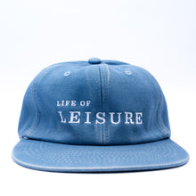 Blue Unstructured 6 Panel Hat with Life of Leisure logo