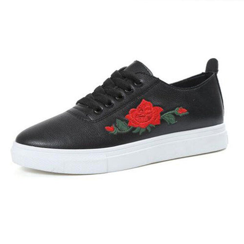 Flat Red Rose Embroidered Shoes PU Leather