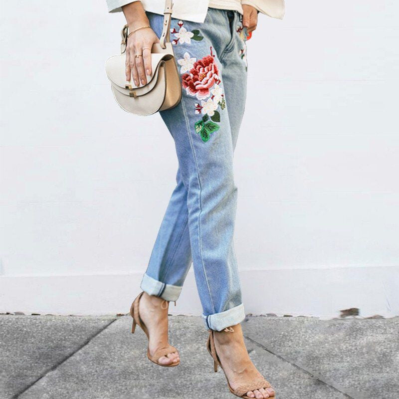 Floral embroidery jeans zipper straight denim