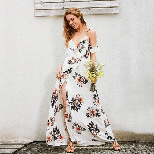 Floral Print Ruffled Chiffon Long Dress Strap V Neck