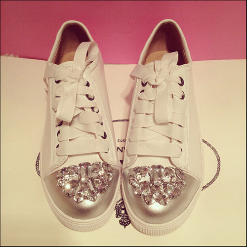Split Leather Casual Breathable lace-up Rhinestones Shoes