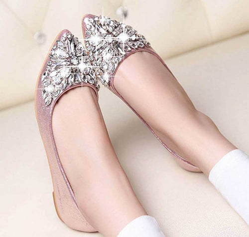Glitter Rhinestion Crystal Flat Leather Shoes