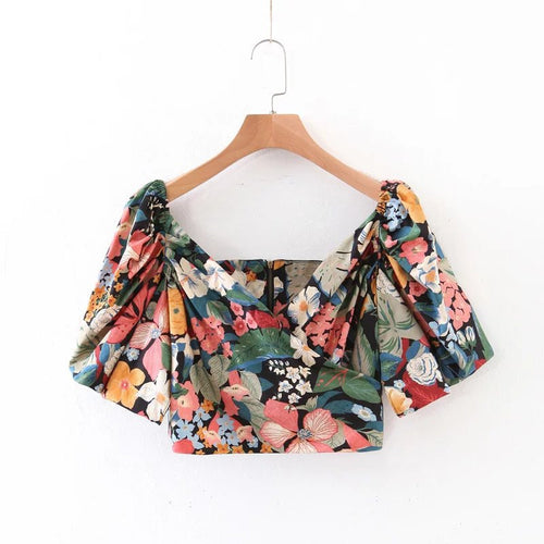 Colorful Floral Short Crop T-Shirt Short Puff Sleeve