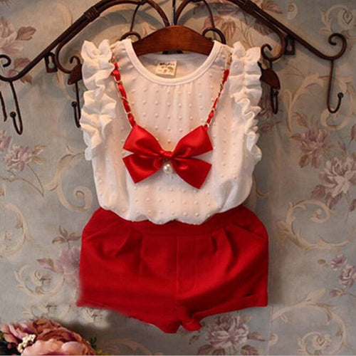 3PCS White Chiffon Shirt and Red Shorts with Bow Necklace / Set 0-5