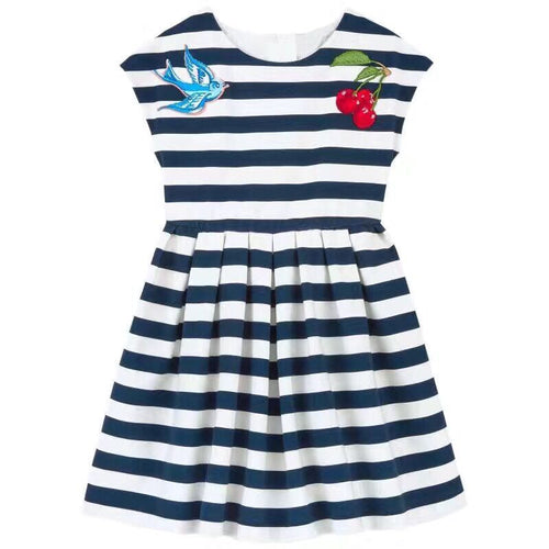 Girls Summer Dress Striped Cherry Embroidery