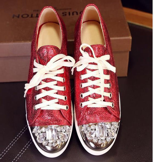 Genuine Leather Casual Metal Paillette Rhinestone Flats