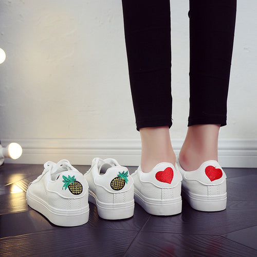 Flats casual sport breathable PU heart pineapple shoes