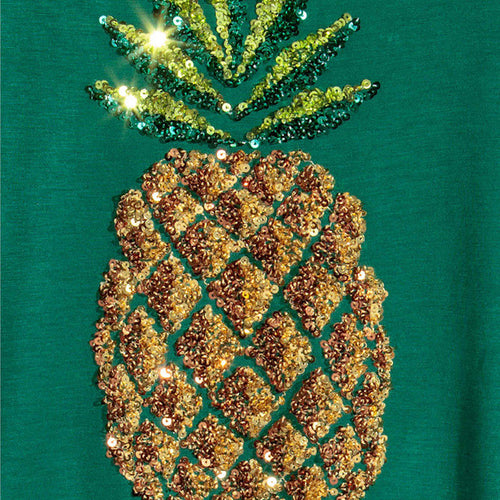 Pineapple Printed Sequin Green Pullover Tops Ladies