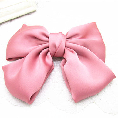 Large Beautiful Girls' Silk Bow Barrette