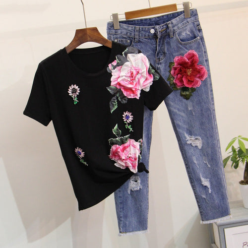 2 Piece set Big flower Tee Cotton Jeans Ripped Embroidery
