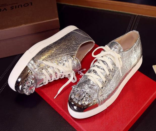 Luxury Rhinestone  Lace-Up Genuine Leather Metal Accents Platform Shoes