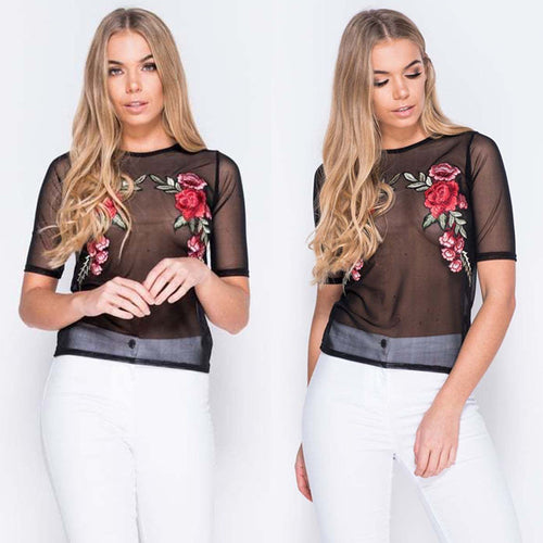 See through Vintage Floral Embroidery T-shirt