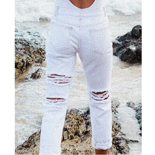 ripped White Jeans High Waist Denim