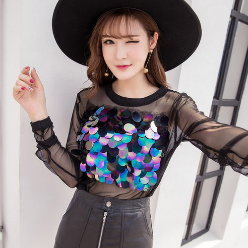 Casual Sequined Patchwork Blouses