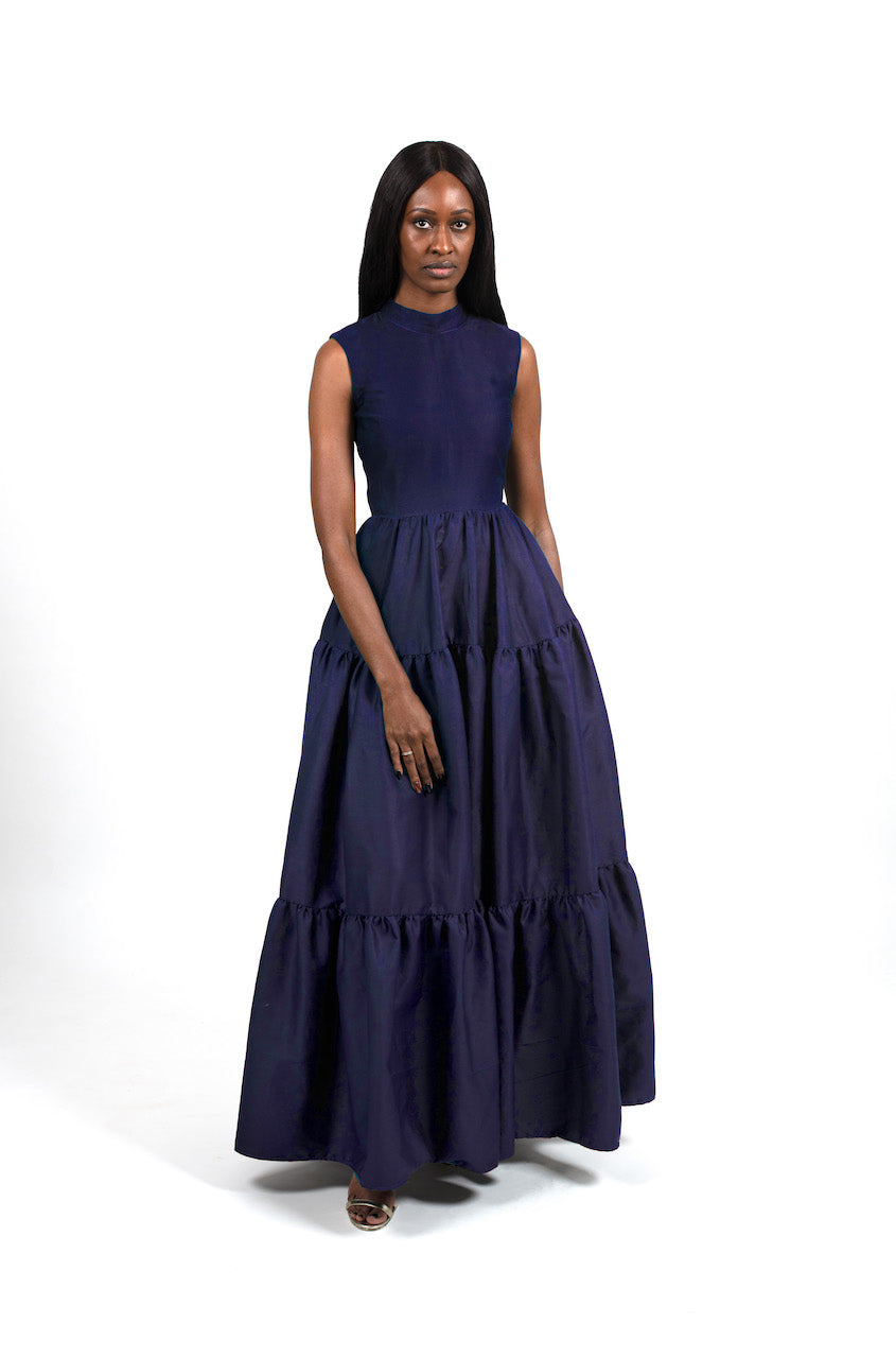 Zina Dress in Navy Blue