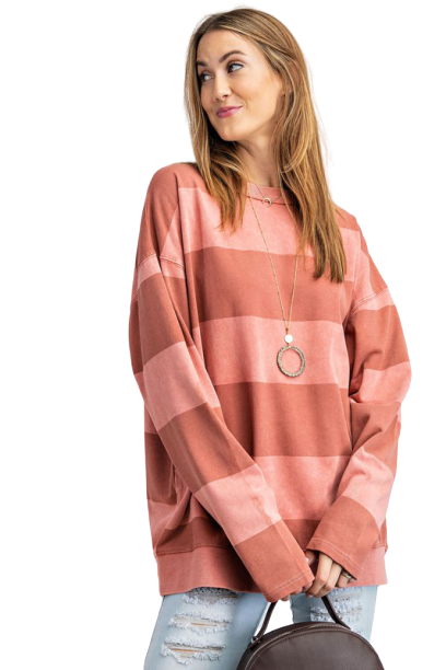 Lewis Striped Pullover, Dried Rose