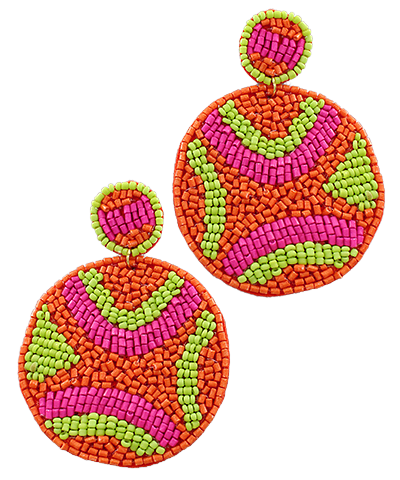 Abstract Beaded Earrings, Orange & Fuchsia