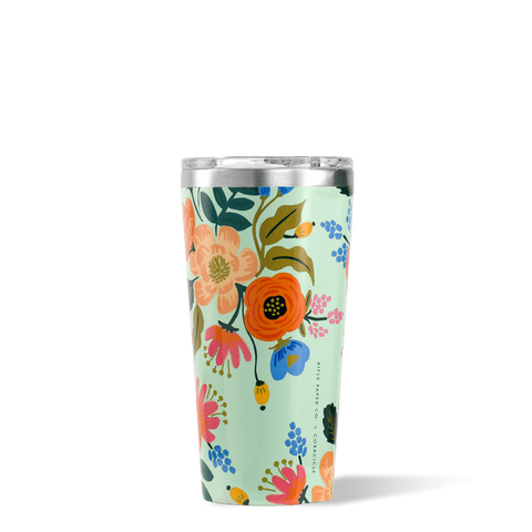 Mint Lively Floral 16 oz. Corkcicle Tumbler